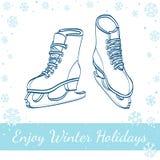 Pattini da ghiaccio di inverno Illustrazione disegnata a mano di vettore Fotografia Stock