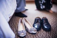 Pattini dello sposo e della sposa Immagini Stock