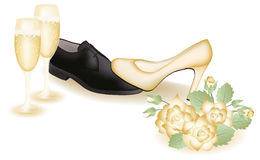 Pattini e champagne di cerimonia nuziale Immagine Stock