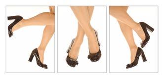 Pattini e piedini della donna fotografia stock
