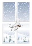 Pattini e un paesaggio di inverno Fotografie Stock