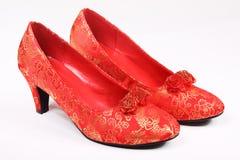 Pattini high-heeled rossi Fotografia Stock