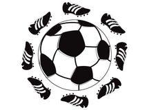 Pattini intorno a gioco del calcio Fotografie Stock Libere da Diritti