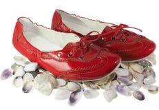 Pattini piani e seashells di balletto rosso della signora isolati Fotografie Stock