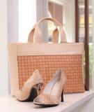 Pattino dell'alto tallone e borsa della signora Fotografia Stock