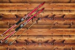 Pattino dell'annata riparato sulla parete di legno Fotografie Stock Libere da Diritti