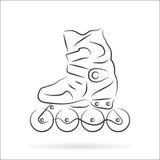 Pattino di rullo disegnato a mano sopra bianco Fotografie Stock Libere da Diritti
