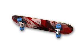 Pattino rosso con le ruote blu, articolo sportivo isolato su bianco, vista dal basso Immagine Stock