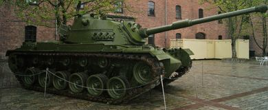 Patton Tank outside Oslo Military Museum. A powerful M48 Patton tank stands guard outside Oslo& x27;s Armed Forces museum Royalty Free Stock Image