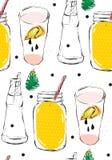 Patttern senza cuciture di vettore dell'estratto dell'illustrazione divertente creativa disegnata a mano della limonata con il be Fotografia Stock Libera da Diritti