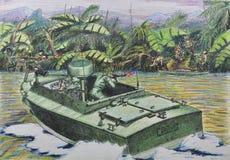 Pattuglia americana nel combattimento con il guer vietnamita Fotografia Stock