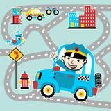 Pattuglia del fumetto della polizia nella strada di città illustrazione vettoriale