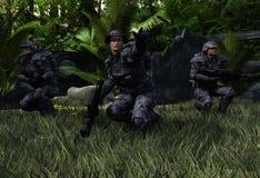Pattuglia di combattimento nell'inferno verde illustrazione vettoriale