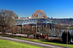 Pattullo Bridge  New Westminster. Pattullo Bridge  over the Fraser River between New Westminster and Surrey British Columbia Royalty Free Stock Image