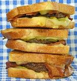 Patty Melt Sandwich asada a la parrilla Foto de archivo libre de regalías