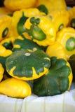 Patty-Pan Squash amarilla y verde Imagen de archivo libre de regalías