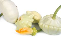 Patty pan squash with a flower  on white Stock Photos