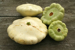 Patty pan squashes. Pattypan squashes harvested from the garden Royalty Free Stock Images