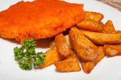 Patty und Kartoffeln Stockbild