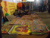 Patuas, τα παραδοσιακά artisans από τη δυτική Βεγγάλη, chitra pata Στοκ Φωτογραφία