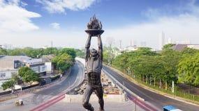 Patung Pemuda Membangun alla rotonda di Senayan immagini stock