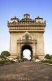 Patuxai曲拱纪念碑在万象,老挝的首都 免版税图库摄影