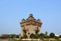 Patuxai曲拱纪念碑,万象老挝 免版税库存照片