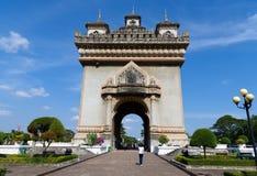 Patuxai纪念纪念碑公共场所在万象,老挝 免版税库存照片