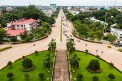从Patuxai,万象,老挝的看法 图库摄影