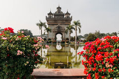 Patuxai,目的地风景万象,老挝 免版税库存照片