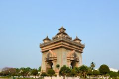 Patuxai arch monument, victory gate, Vientiane Royalty Free Stock Photo