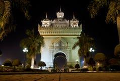 Patuxai arch at night in vientiane, laos. Patuxai arch at night in central vientiane, laos Stock Photo
