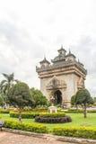 Patuxai en minnes- monument Vientiane Royaltyfri Fotografi