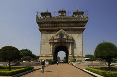 Patuxai monument in Vientiane capital of Laos. With detail stock photos