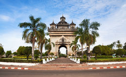 Patuxai or Victory Gate or Gate of Triumph, No.1 attraction in Vientiane, Laos. Royalty Free Stock Photo
