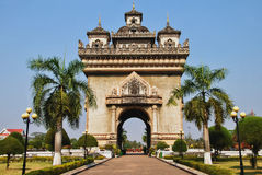 Patuxai. Or Victory Gate or Gate of Triumph is a war monument in the centre of Vientiane, Laos Royalty Free Stock Photography