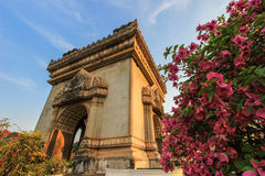 Patuxai(Victory Gate or Gate of Triumph)- a war monument on Lang Xang Avenue in the centre of Vientiane,Laos. Stock Photo