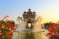 Patuxai (Victory Gate ou porte de Triumph) - un monument de guerre sur Lang Xang Avenue au centre de Vientiane, Laos Photos libres de droits