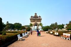 Patuxai Victory Monument Attractive Landmark av den Vientiane staden av Laos arkivfoton