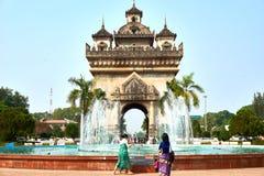 Patuxai Victory Monument Attractive Landmark av den Vientiane staden av Laos royaltyfria bilder