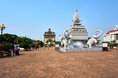 Patuxai Victory Monument Attractive Landmark av den Vientiane staden av Laos arkivbild