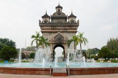 Patuxai Victory Monument is het Oriëntatiepunt van Vientiane-Stad, Laos stock foto's