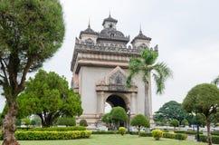 Patuxai Victory Monument is het Oriëntatiepunt van Vientiane-Stad, Laos stock afbeelding