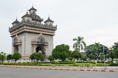 Patuxai Victory Monument is het Oriëntatiepunt van Vientiane-Stad, Laos stock fotografie