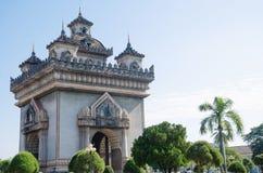 Patuxai Victory Monument is het Oriëntatiepunt van Vientiane-Stad, Laos stock afbeeldingen