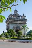 Patuxai Victory Monument is het Oriëntatiepunt van Vientiane-Stad, Laos royalty-vrije stock foto's
