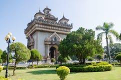 Patuxai Victory Monument is het Oriëntatiepunt van Vientiane-Stad, Laos royalty-vrije stock afbeelding