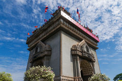 Patuxai victory monument in Vientian. Royalty Free Stock Photo