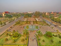 Patuxai is a war monument in the centre of Vientiane, Laos, built in 1957. The Patuxai was dedicated to those who fought in the s. Truggle for independence from stock images