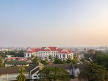 Patuxai is a war monument in the centre of Vientiane, Laos, built in 1957. The Patuxai was dedicated to those who fought in the s. Truggle for independence from stock photography